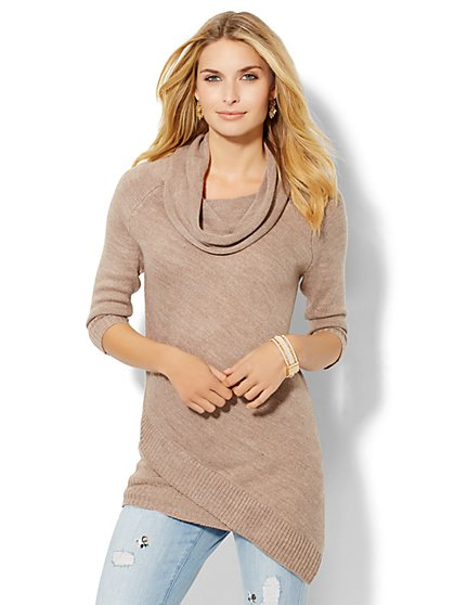 Asymmetrical Cowl-Neck Tunic Sweater  - New York & Company
