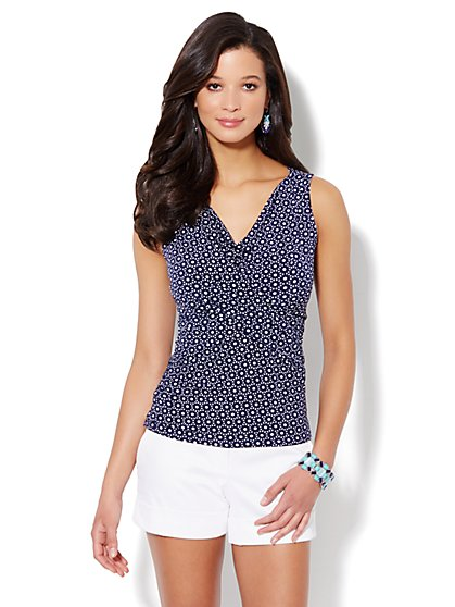 Asymmetrical-Drape Knit Top - Eyelet Print