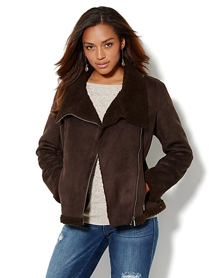 Asymmetrical Faux-Shearling Jacket  - New York & Company