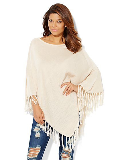Asymmetrical Fringed Poncho  - New York & Company