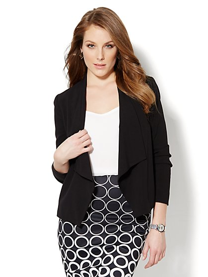 Asymmetrical-Hem Flyaway Jacket - Black  - New York & Company
