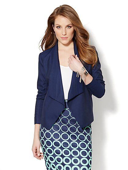 Asymmetrical-Hem Flyaway Jacket - Navy  - New York & Company