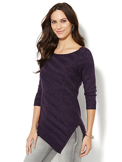 Asymmetrical-Hem Lurex Sweater  - New York & Company