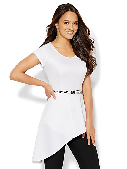 Asymmetrical-Hem Peplum Top  - New York & Company