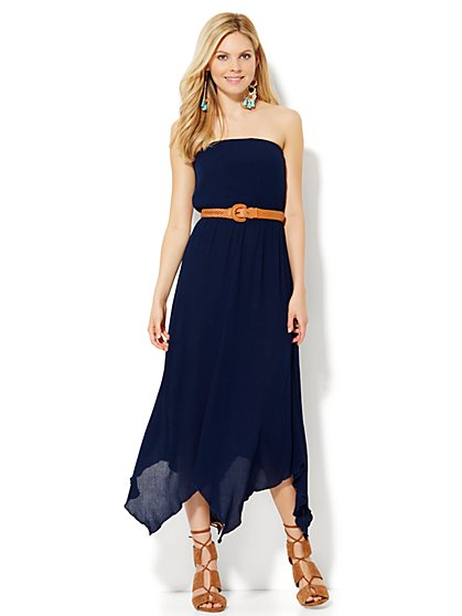 Asymmetrical-Hem Strapless Dress  - New York & Company