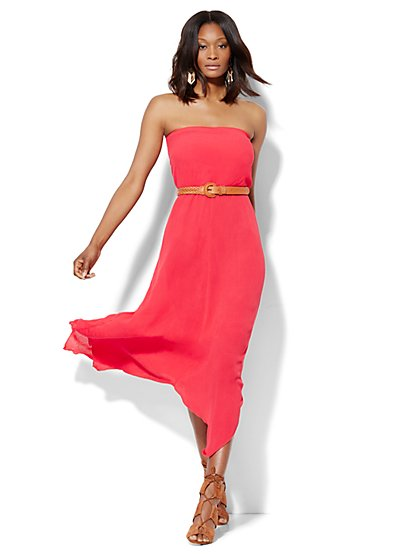 Asymmetrical-Hem Strapless Dress  - New York & Company