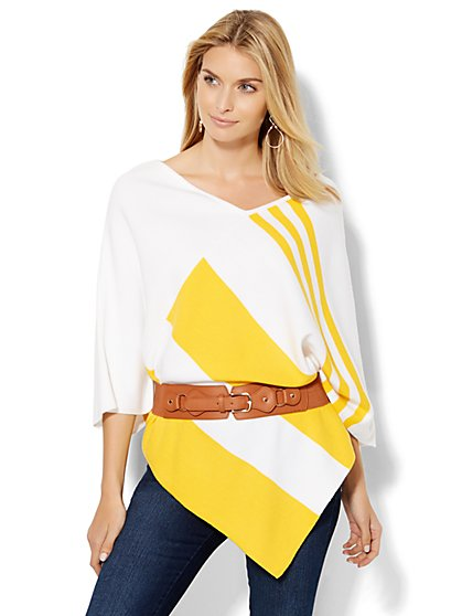 Asymmetrical-Hem Striped Poncho  - New York & Company