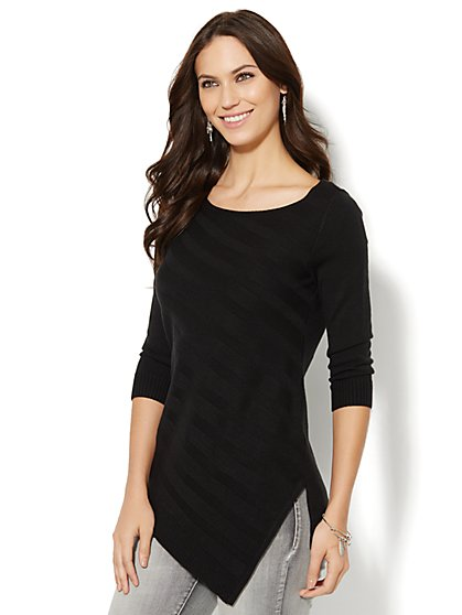 Asymmetrical-Hem Striped Sweater  - New York & Company