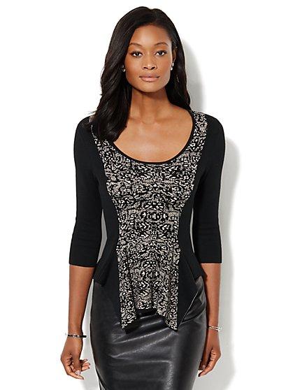 Asymmetrical Peplum Sweater  - New York & Company