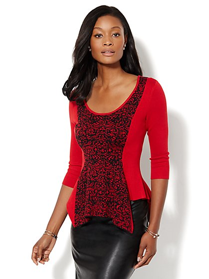 Asymmetrical Peplum Sweater  - New York & Company