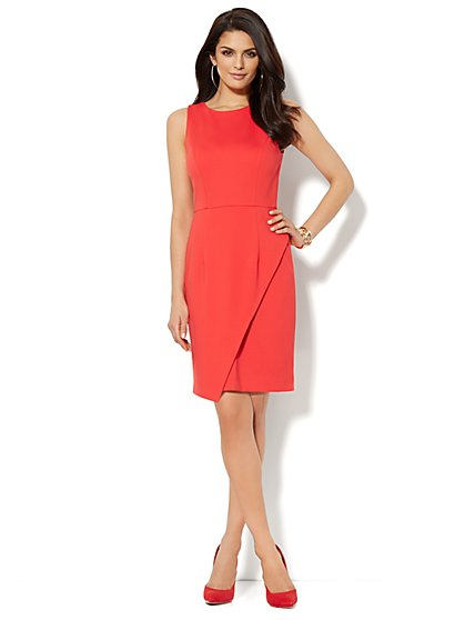 Asymmetrical Sleeveless Ponte Sheath Dress  - New York & Company