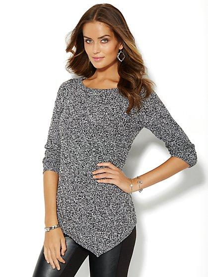 Asymmetrical Textured Tunic Sweater - Marled  - New York & Company