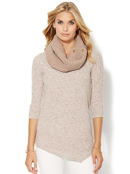 Asymmetrical Textured Tunic Sweater - Marled  - New York & Company