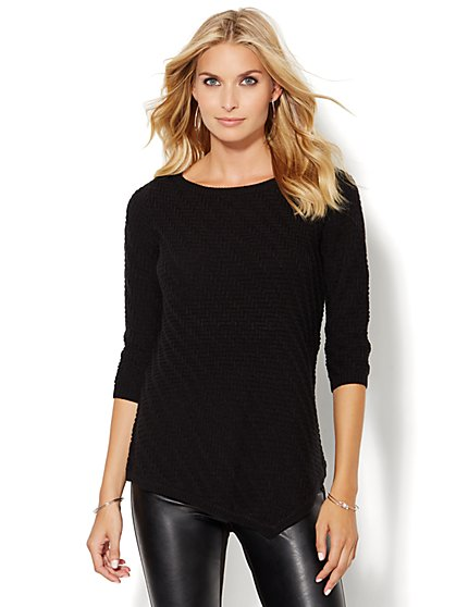 Asymmetrical Textured Tunic Sweater - Solid  - New York & Company
