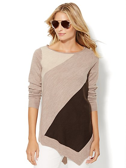 Asymmetrical Tunic Sweater - Colorblock  - New York & Company