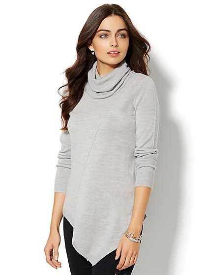 Asymmetrical Turtleneck Sweater - Solid - New York & Company