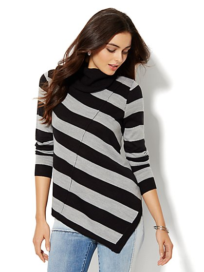 Asymmetrical Turtleneck Sweater - Stripe - New York & Company