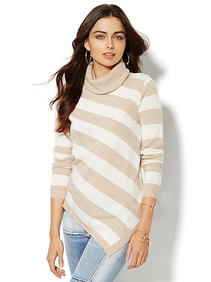Asymmetrical Turtleneck Sweater - Stripe - New York & Company