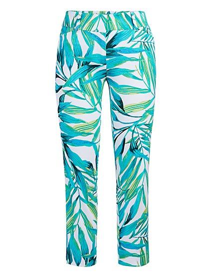 Audrey Capri Slim-Leg Pant - Palm Print - New York & Company