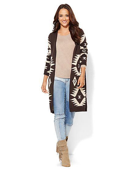 Aztec-Knit Duster - Walnut  - New York & Company