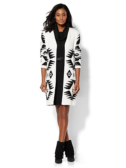 Aztec-Knit Duster - Winter White  - New York & Company