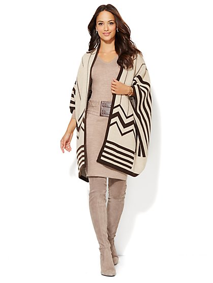 Aztec Open-Front Poncho  - New York & Company