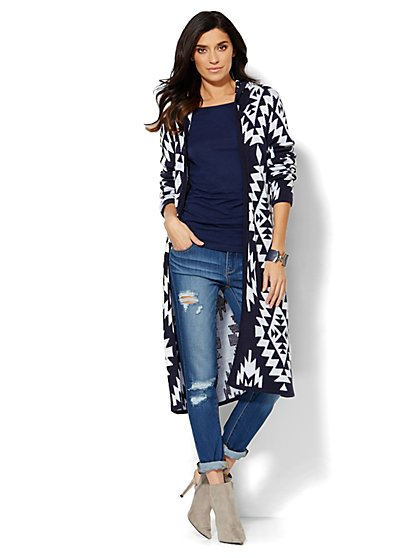 Aztec-Print Hooded Cardigan - New York & Company