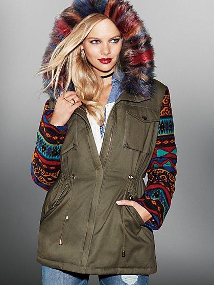 Aztec-Sleeve Faux-Fur Parka - New York & Company