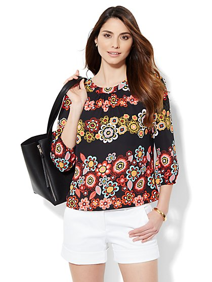 Back-Button Blouse - Print  - New York & Company