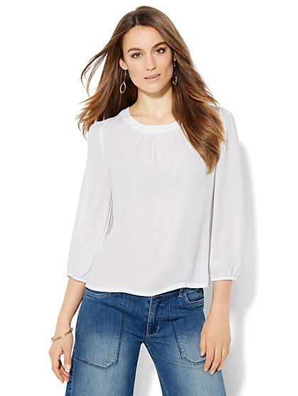 Back-Button Blouse - Solid  - New York & Company