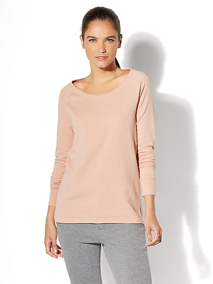 Back-Twist Knit Tunic Top - Blush - New York & Company