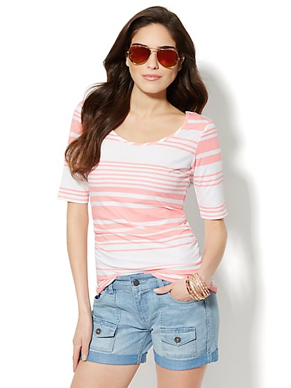 Ballet-Neck Cotton Tee - Striped  - New York & Company