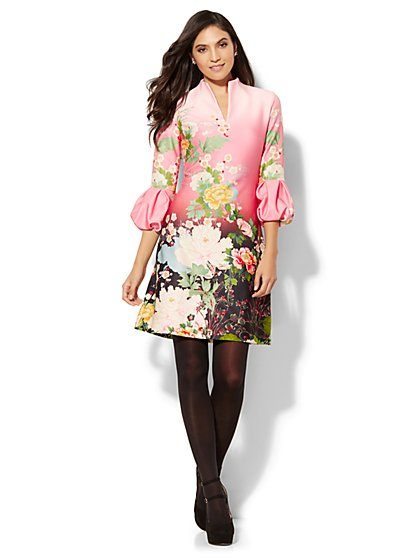 Balloon-Sleeve Sheath Dress - Floral - New York & Company