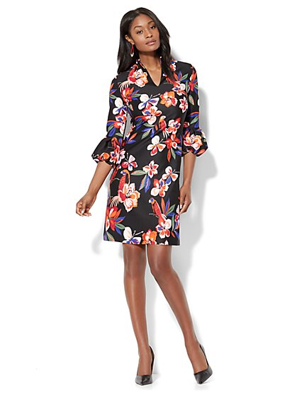 Balloon-Sleeve Shift Dress - Black Floral - Petite - New York & Company