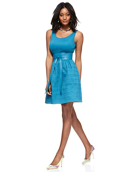 Bandage Flare Dress - Blue Haven  - New York & Company