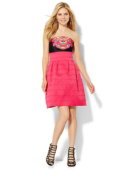 Bandage Flare Dress - Pink  - New York & Company