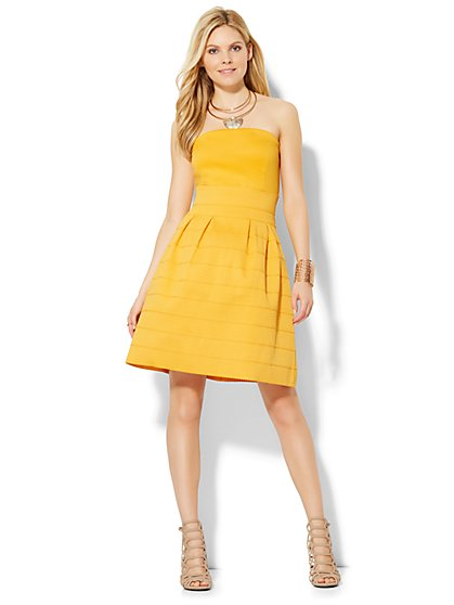 Bandage Flare Dress - Yellow  - New York & Company