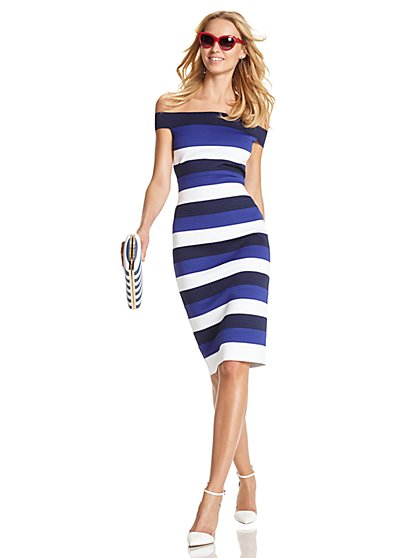 Bandage Sheath Dress - Stripe  - New York & Company