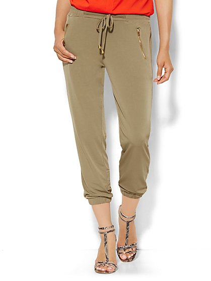 Banded Ankle Soft Pant - Zip Accent  - New York & Company