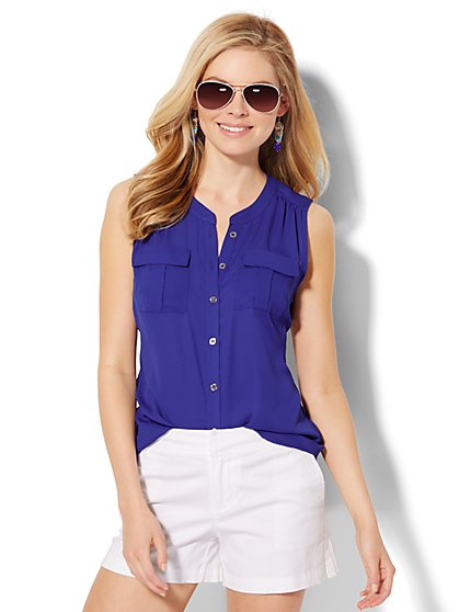Banded Collar Soho Soft Shirt  - New York & Company