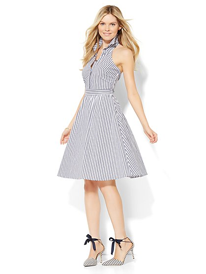 Bar-Back Shirtdress - Stripe  - New York & Company