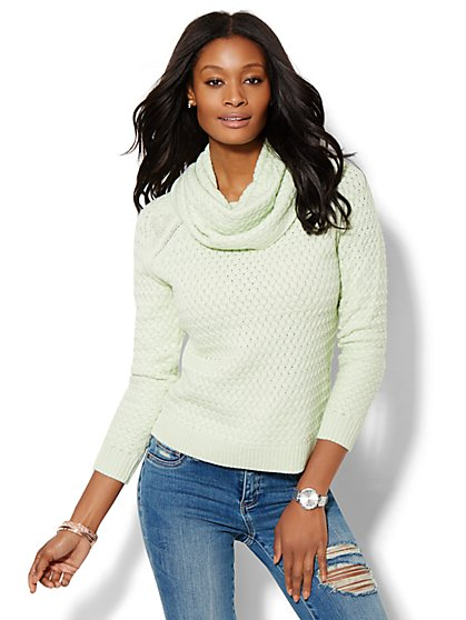 Basket-Weave Cowl-Neck Sweater  - New York & Company