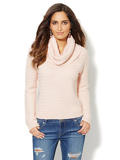 Basket Weave Cowl-Neck Sweater - New York & Company