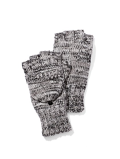 Basketweave Knit Flip-Top Gloves  - New York & Company