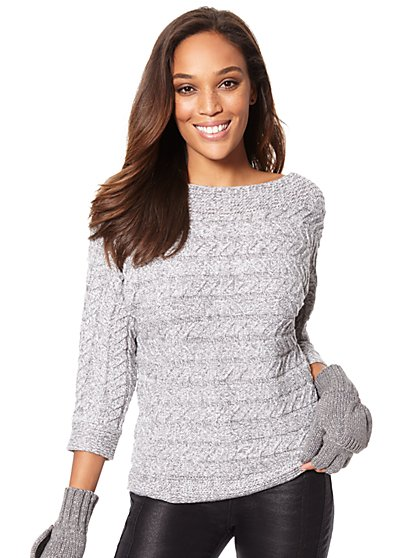 Bateau-Neck Cable-Knit Sweater - Marled - New York & Company