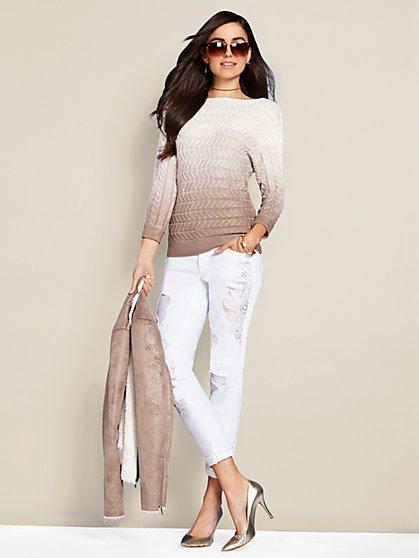 Bateau-Neck Cable-Knit Sweater - Ombré - New York & Company