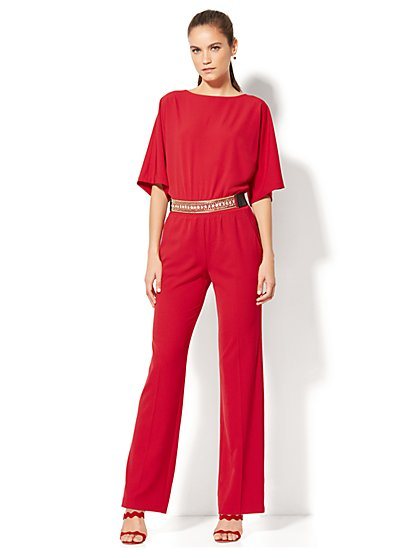 Bateau-Neck Jumpsuit - Red - New York & Company