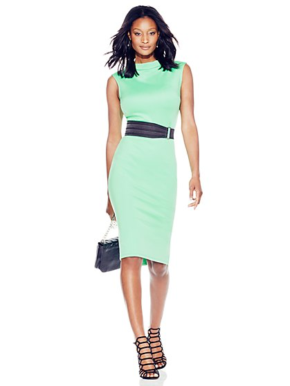 Bateau-Neck Scuba Midi Dress  - New York & Company
