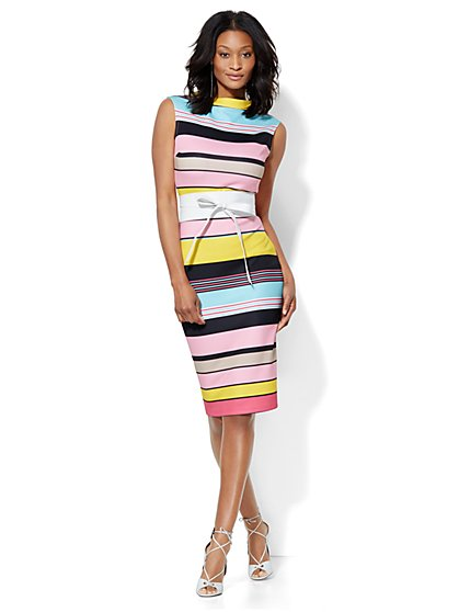 Bateau-Neck Sheath Dress - Stripe - Petite - New York & Company