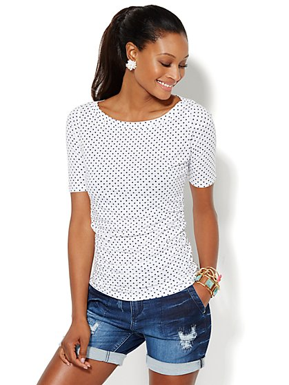 Bateau-Neck Shirred Top - Polka-Dot  - New York & Company